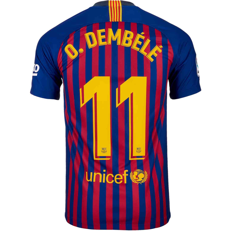 huge discount de20b 7b2d9 Nike Dembele Barcelona Home Jersey 2018-19