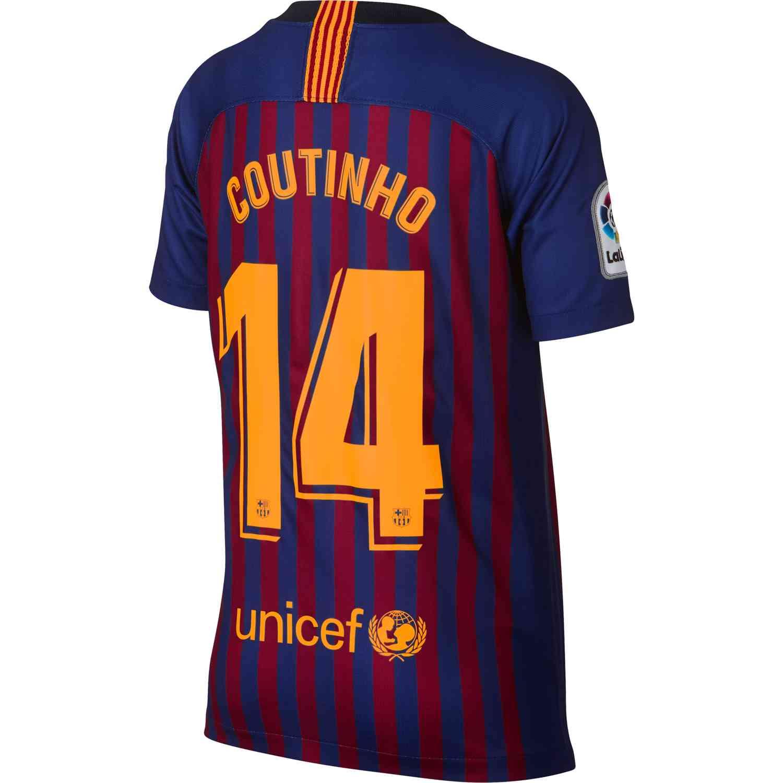 best service 3dac7 6d9dc Nike Coutinho Barcelona Home Jersey - Youth 2018-19 - SoccerPro
