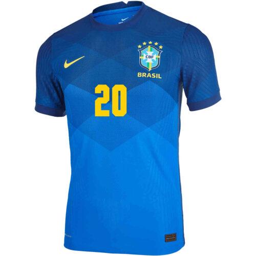 2020 Nike Roberto Firmino Brazil Away Match Jersey