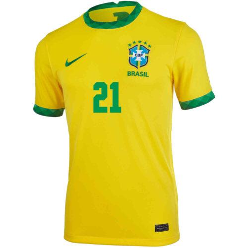 2020 Kids Nike Vinicius Jr Brazil Home Jersey