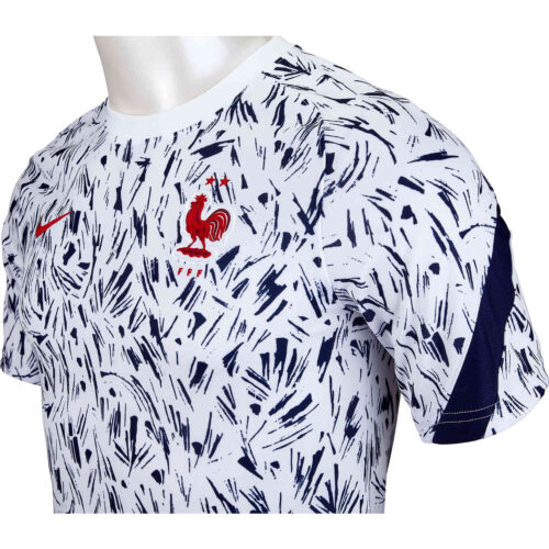 Kids Nike France Pre-Match Top – White & Blackened Blue with University Red