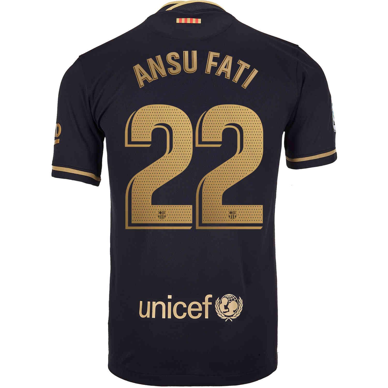 2020 21 Nike Ansu Fati Barcelona Away Jersey Soccerpro