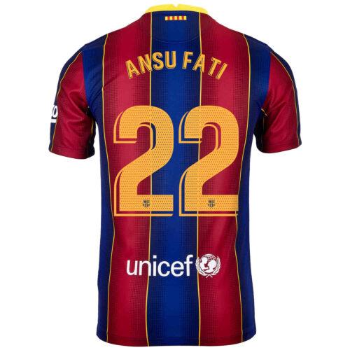 2020/21 Kids Nike Ansu Fati Barcelona Home Jersey