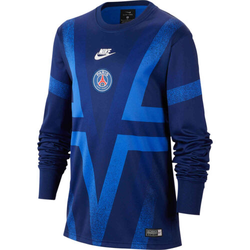 Kids Nike PSG L/S Pre-match Top – Blue Void/Hyper Royal/White