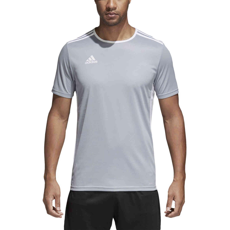 adidas Entrada 18 Jersey - Light Grey - SoccerPro