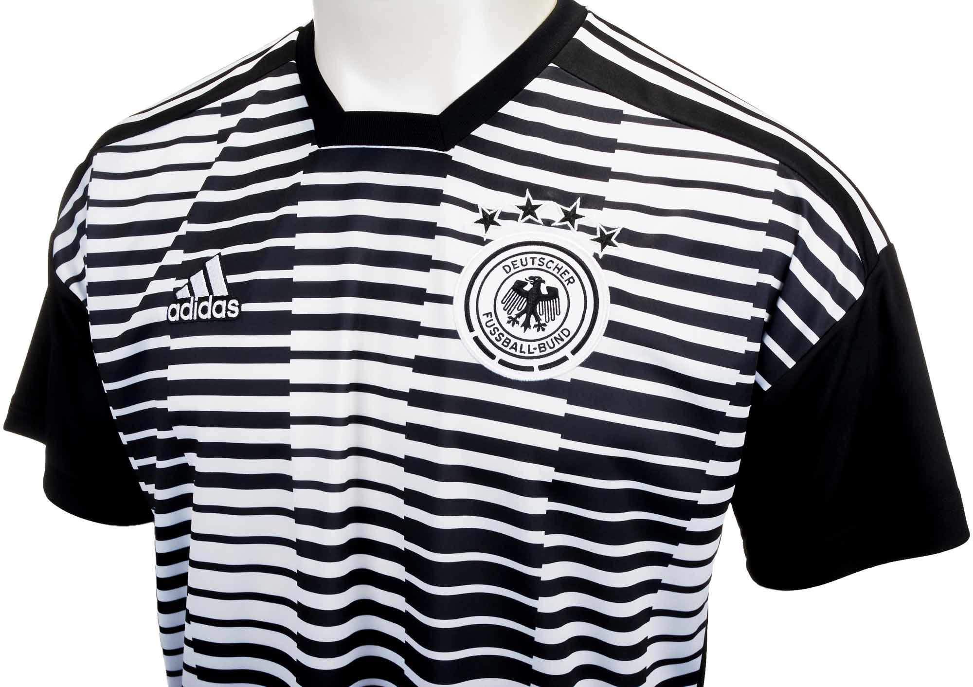 adidas Germany Pre-match Jersey - White & Black - SoccerPro.com
