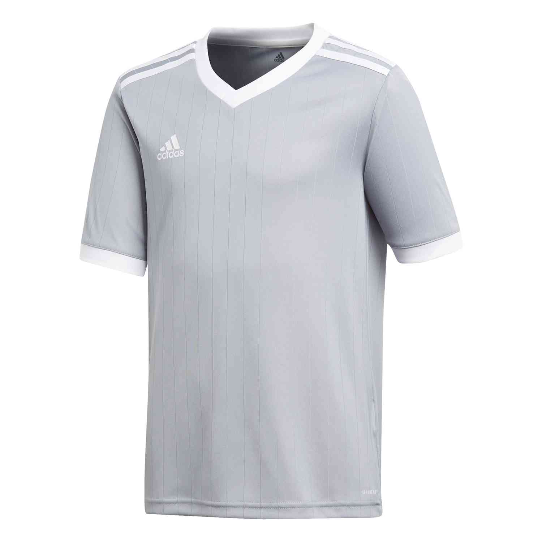 Kids adidas Tabela 18 Jersey - Light Grey/White - SoccerPro