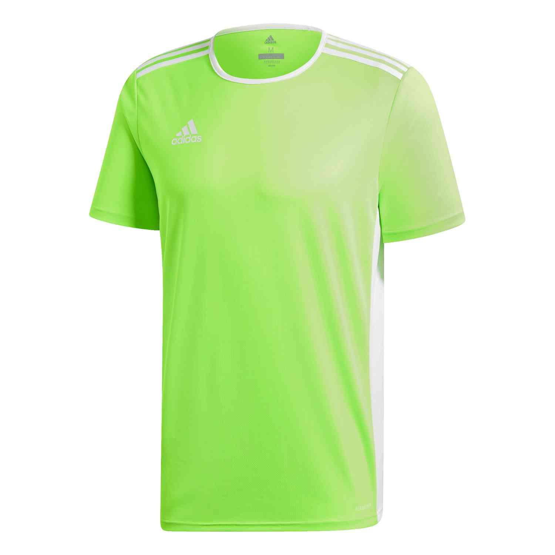 adidas Entrada 18 Jersey - Solar Green/White - SoccerPro