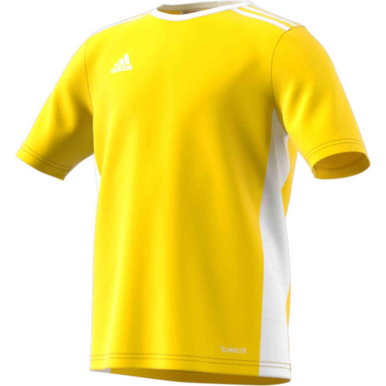 Kids adidas Entrada 18 Jersey - Yellow - SoccerPro
