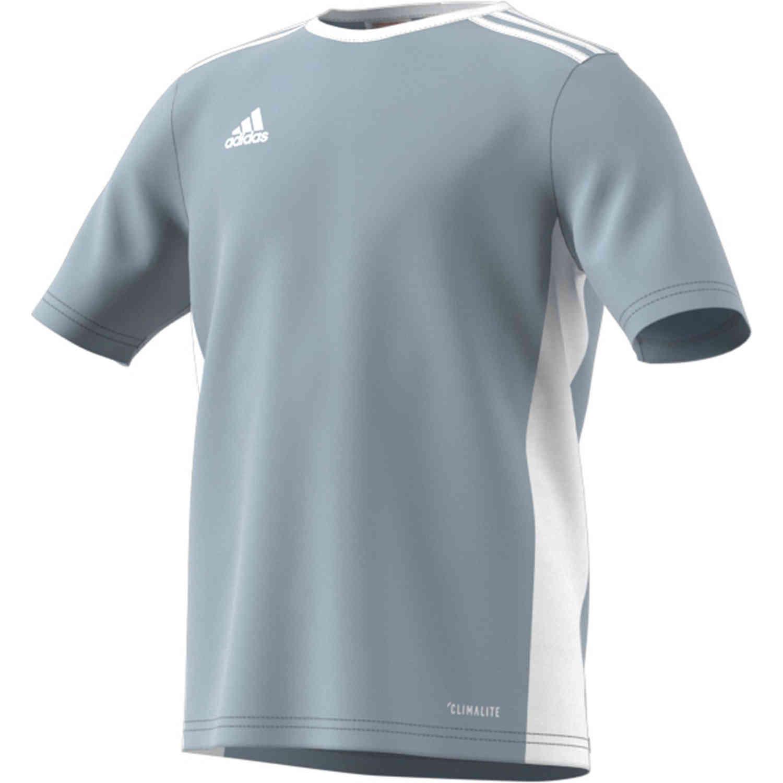 Kids adidas Entrada 18 Jersey - Light Grey - SoccerPro