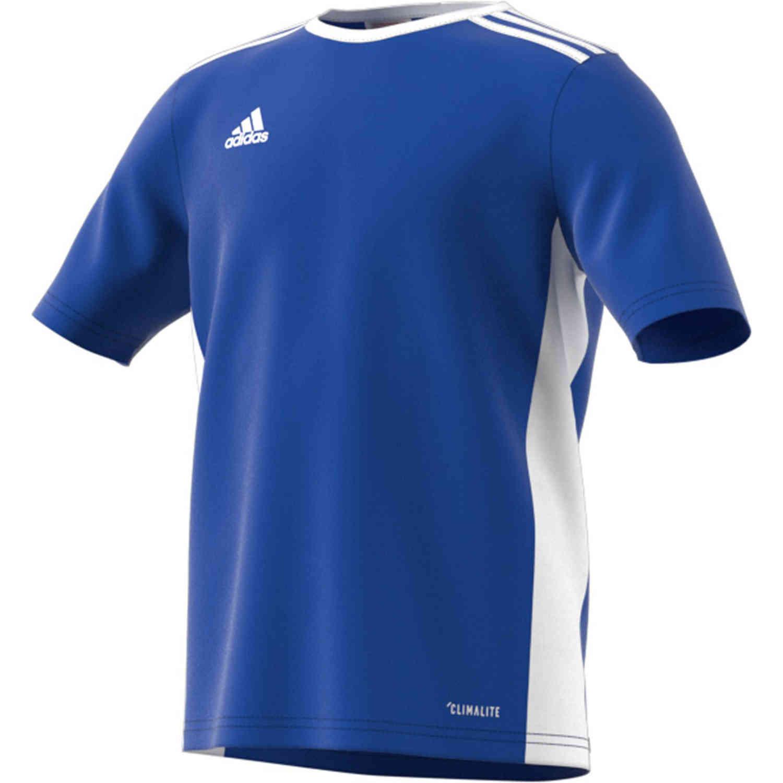 Kids adidas Entrada 18 Jersey - Bold Blue - SoccerPro