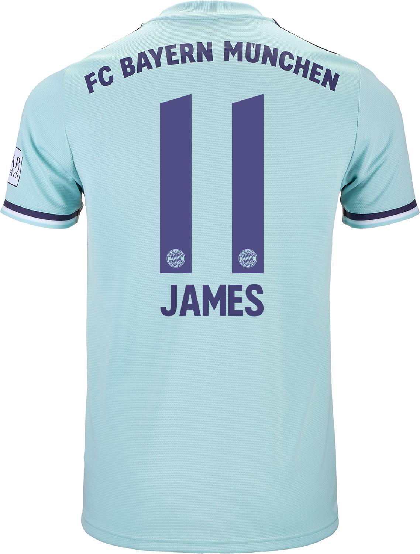a094fc7e7 2018 19 adidas James Rodriguez Bayern Munich Away Jersey - SoccerPro