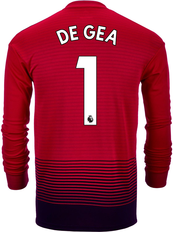 05bdb5bd745 2018 19 adidas Kids David De Gea Manchester United Home L S Jersey ...