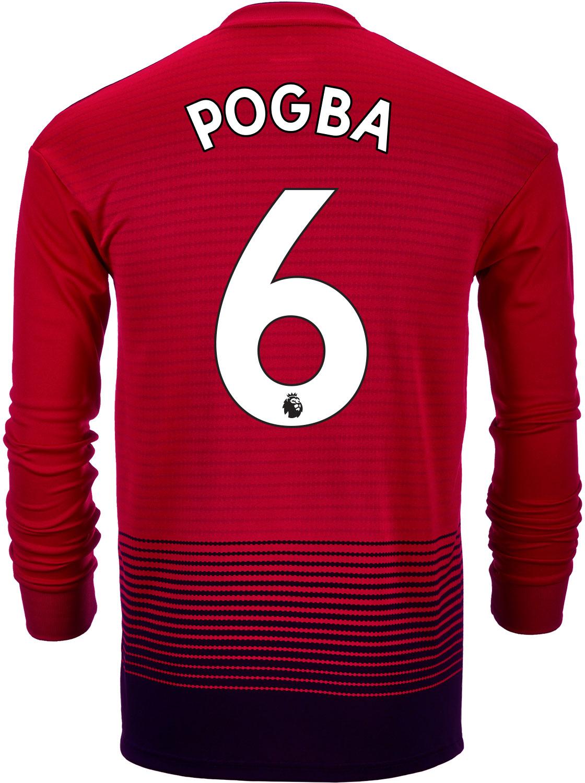 san francisco 6bc1e cd046 201819 adidas Kids Paul Pogba Manchester United Home LS Jersey