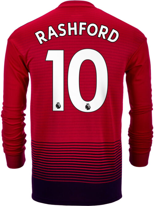 2018/19 adidas Kids Marcus Rashford Manchester United Home L/S Jersey