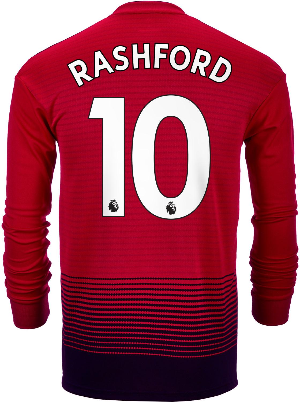 494b47031df 2018 19 adidas Marcus Rashford Manchester United L S Home Jersey ...