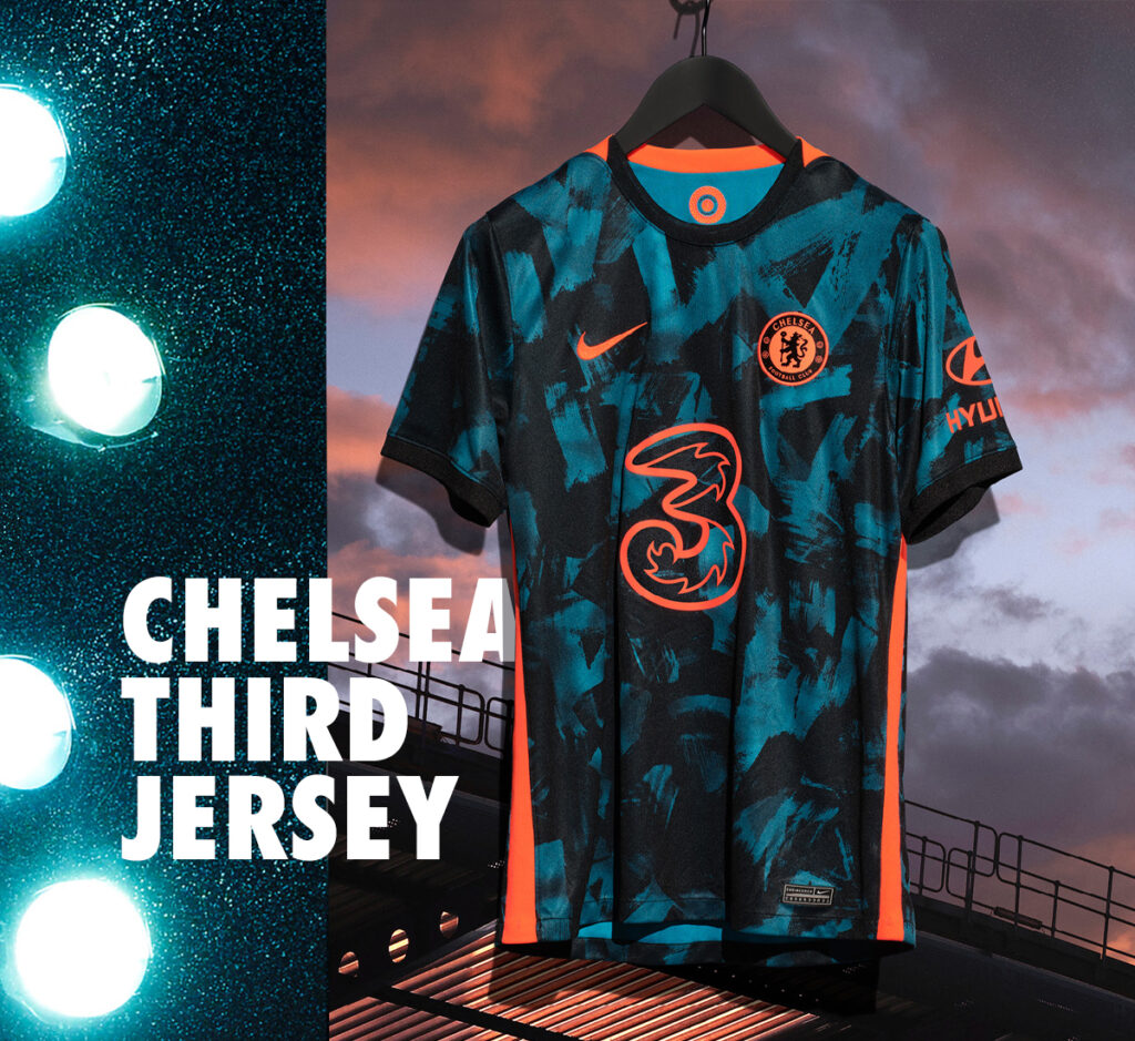 Chelsea football club premier league soccer team third jersey by nike with ACG