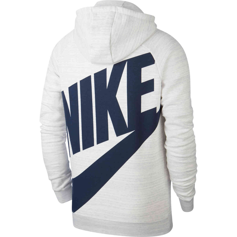 Nike PSG Pullover Fleece Hoodie WhiteWolf GreyMidnight Navy SoccerPro