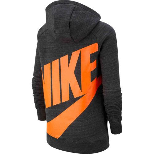 Kids Nike Chelsea Pullover Fleece Hoodie – Anthracite/Dark Grey/Rush Orange