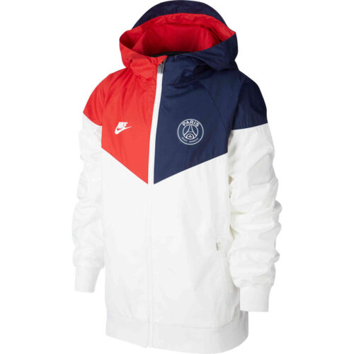 Kids Nike PSG Woven Windrunner Jacket – White/Midnight Navy/University Red/White