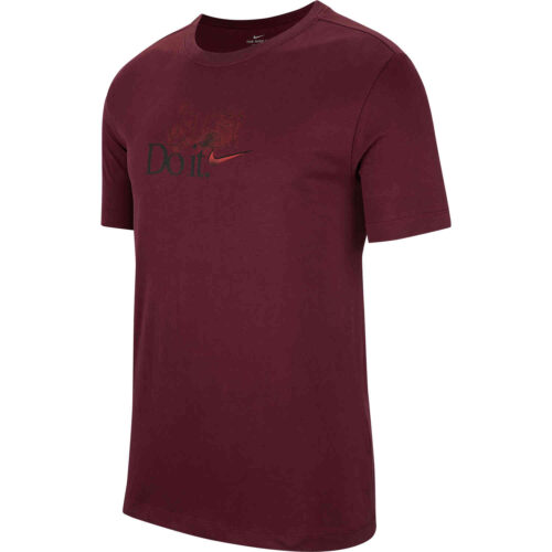 "Nike ""Just Do It"" Dri-Fit Cotton Tee – Night Maroon"