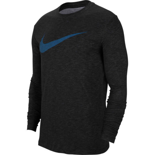 Nike Dri-Fit Cotton L/S Swoosh Tee – Black