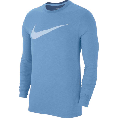 Nike Dri-Fit Cotton L/S Swoosh Tee – Light Blue