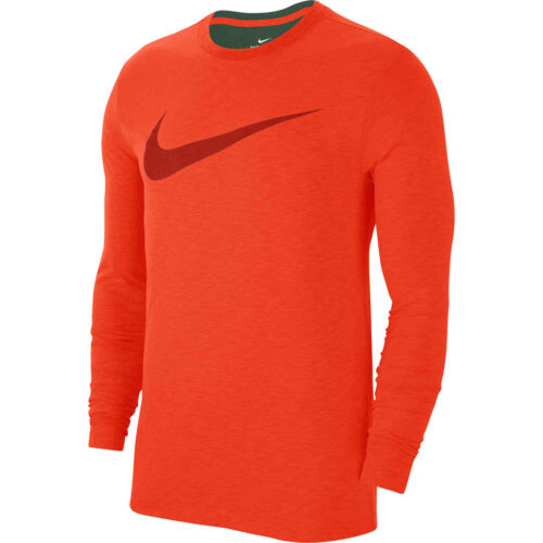 Nike Dri-Fit Cotton L/S Swoosh Tee – Team Orange