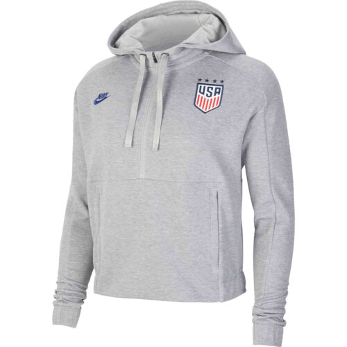 Womens Nike USA Pullover Hoodie – Dark Grey Heather/Matte Silver/Loyal Blue