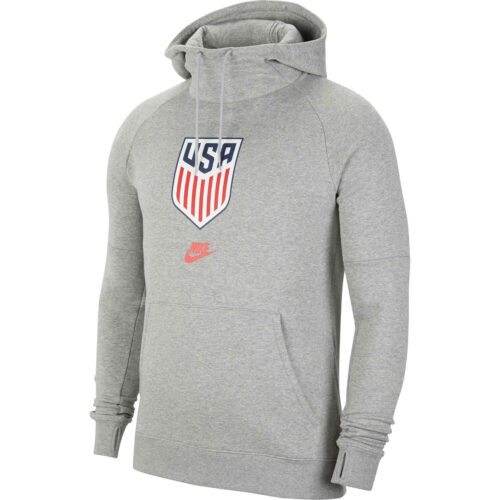 Nike USA Fleece Hoodie – Dk Grey Heather/Speed Red