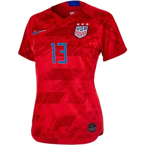 Womens Nike Alex Morgan USWNT Away Jersey – Speed Red/Speed Red/Bright Blue