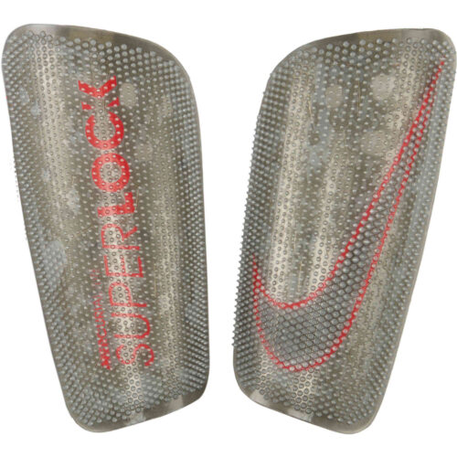 Nike Mercurial Lite Superlock Shin Guards – Metallic Silver & Laser Crimson