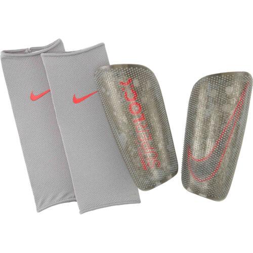 Nike Mercurial Lite Superlock Shin Guards – Metallic Silver & Laser Crimson