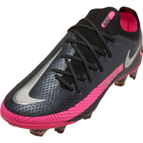 Nike Phantom GT Elite FG – Black & Metallic Silver with Pink Blast