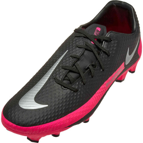 Nike Phantom GT Academy FG – Black & Metallic Silver with Pink Blast