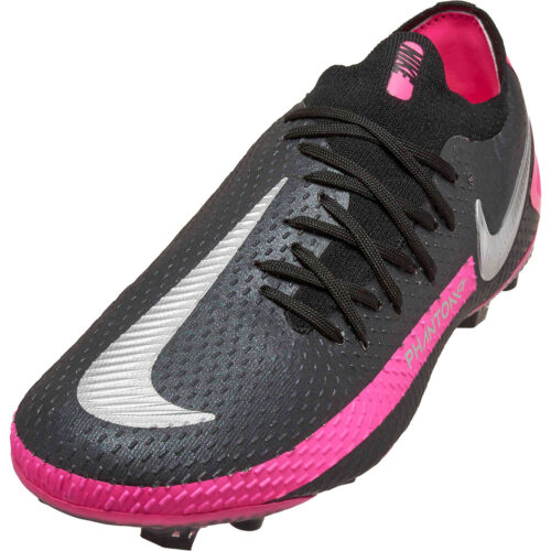 Kids Nike Phantom GT Elite FG – Black & Metallic Silver with Pink Blast