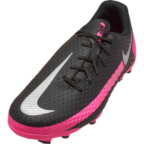 Kids Nike Phantom GT Academy FG – Black & Metallic Silver with Pink Blast