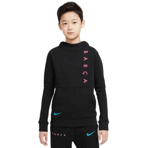 Kids Nike Barcelona Fleece Pullover Hoodie – Black/New Green/Pink Beam