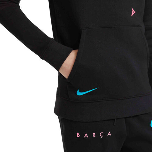 Kids Nike Barcelona Fleece Pullover Hoodie – Black/New Green/Pink Beam