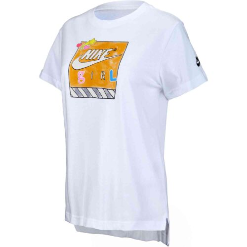 "Girls Nike ""Nike Girl"" Droptail Tee – White/Black"