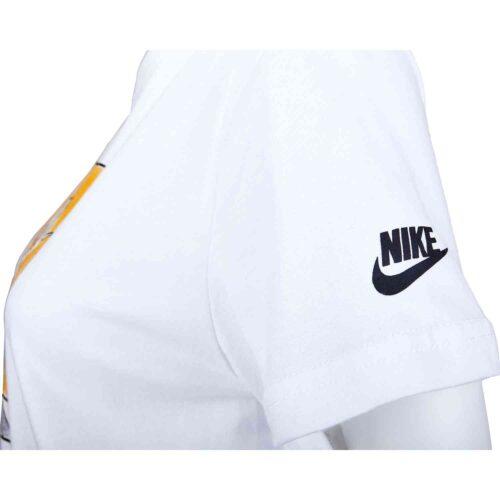 """Girls Nike """"Nike Girl"""" Droptail Tee – White/Black"""
