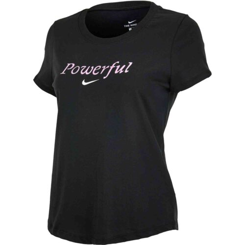 "Girls Nike ""Powerful"" Scoop Tee – Black/Pink Foam"