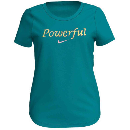 "Girls Nike ""Powerful"" Scoop Tee – Teal Tint"