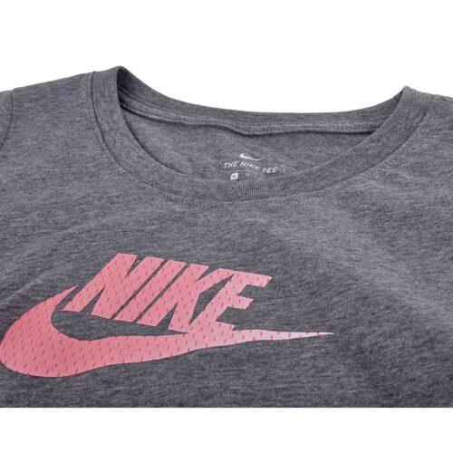 Girls Nike Futura Scoop Tee – Carbon Heather/Pink Gaze