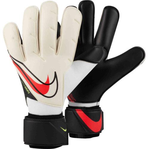 Nike Vapor Grip3 Goalkeeper Gloves – White & Black with Bright Crimson
