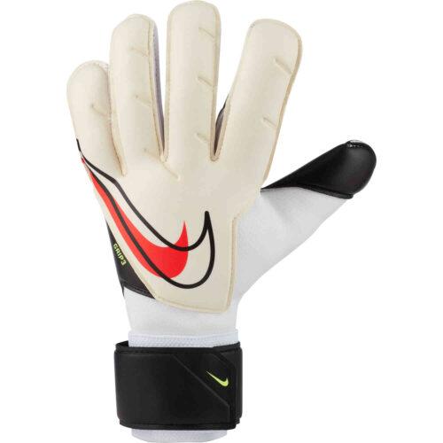 Nike Grip3 Goalkeeper Gloves – White & Black with Bright Crimson