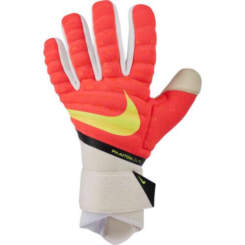 Nike Phantom Elite Goalkeeper Gloves – Bright Crimson & White with Volt