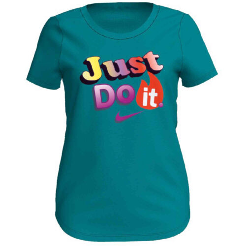 """Girls Nike """"Just Do It"""" Scoop Tee – Mineral Teal"""