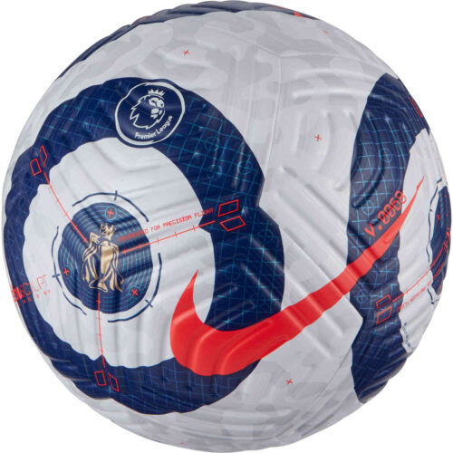 Nike Premier League Flight Official Match Soccer Ball – White & Blue with Laser Crimson