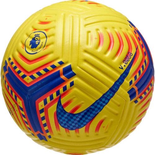 Nike Hi-vis Premier League Flight Official Match Soccer Ball – Yellow & Laser Crimson with Purple
